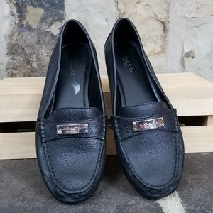 Coach 8.5 Fredrica Black Pebble Leather Loafers